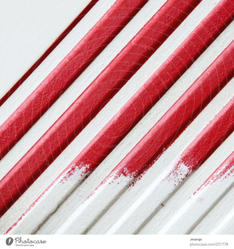 Gestrichen weiß rot Farbe Linie Design Lifestyle Streifen einzigartig einfach Dekoration & Verzierung Grafik u. Illustration Anstreicher Warnung minimalistisch Signal
