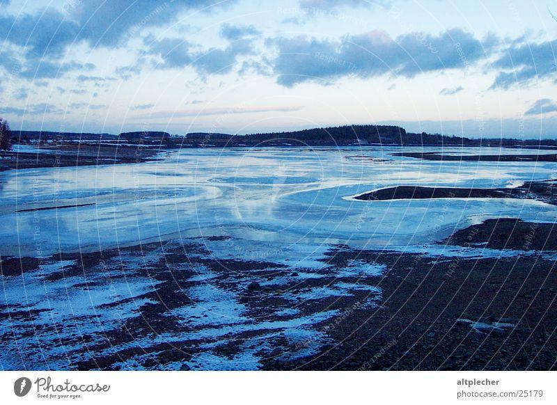 Abschied vom Winter Natur Wasser Schnee See Landschaft Eis Abenddämmerung