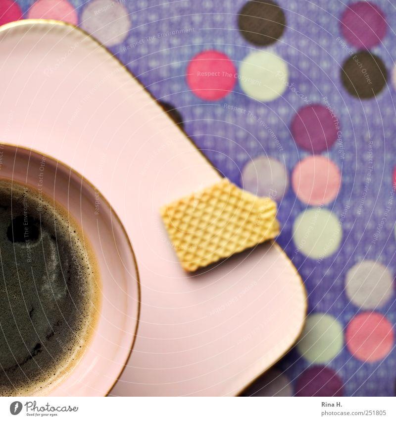 Kaffeepause Keks Heißgetränk Geschirr Teller Tasse lecker mehrfarbig violett rosa genießen Punkt gepunktet Muster Farbfoto Innenaufnahme Menschenleer