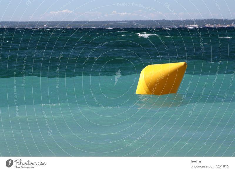 no yellow submarine Himmel Wasser blau Meer gelb Wellen Schilder & Markierungen Schwimmen & Baden Perspektive Kunststoff führen Verkehrswege türkis