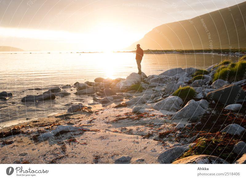 Mensch mit Pfeife in Mitternachtssonne am Fjord harmonisch Zufriedenheit Erholung ruhig Meditation Ferien & Urlaub & Reisen Abenteuer Ferne Freiheit Leben 1