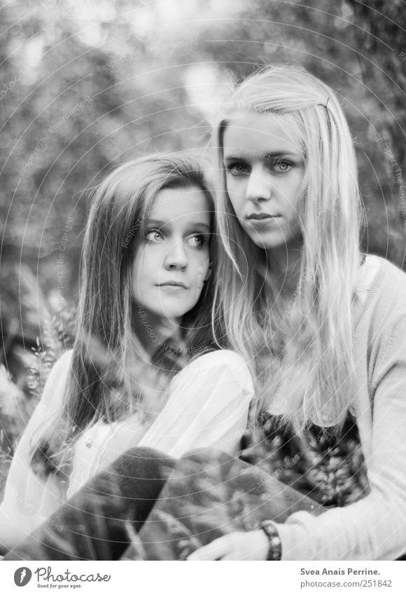 zwei. feminin Junge Frau Jugendliche Paar Haare & Frisuren Gesicht 2 Mensch 18-30 Jahre Erwachsene Park Wiese brünett blond langhaarig sitzen träumen