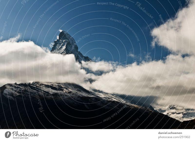 Matterhorn !! Himmel Natur Ferien & Urlaub & Reisen Wolken Berge u. Gebirge Landschaft wandern Alpen Schweiz Gipfel Schneebedeckte Gipfel Matterhorn Zermatt
