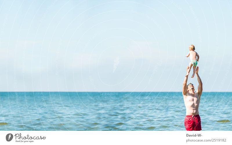 Liebe Kind Mensch Ferien & Urlaub & Reisen Mann Sommer Sonne Meer Freude Erwachsene Leben Gesundheit lachen Familie & Verwandtschaft Spielen maskulin Kindheit