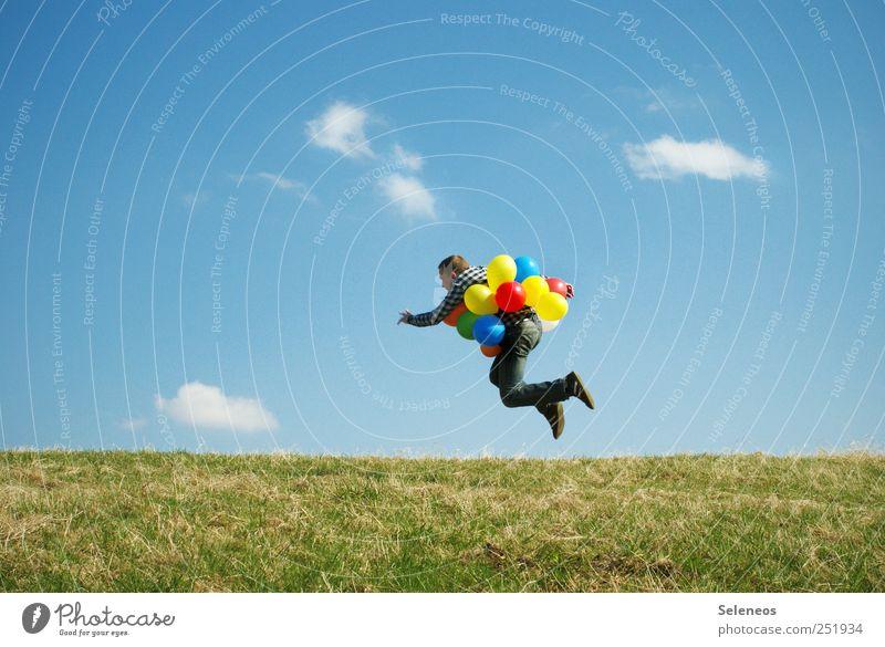 zum abheben Mensch Himmel Natur Pflanze Sommer Freude Wolken Umwelt Wiese Landschaft Gras springen Horizont fliegen maskulin frei