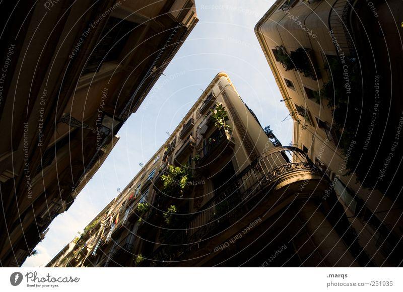 Balkon hoch aufstrebend Barcelona Spanien dunkel eng Fassade Dekoration & Verzierung Grünpflanze Haus Häusliches Leben Immobilienmarkt Jugendstil