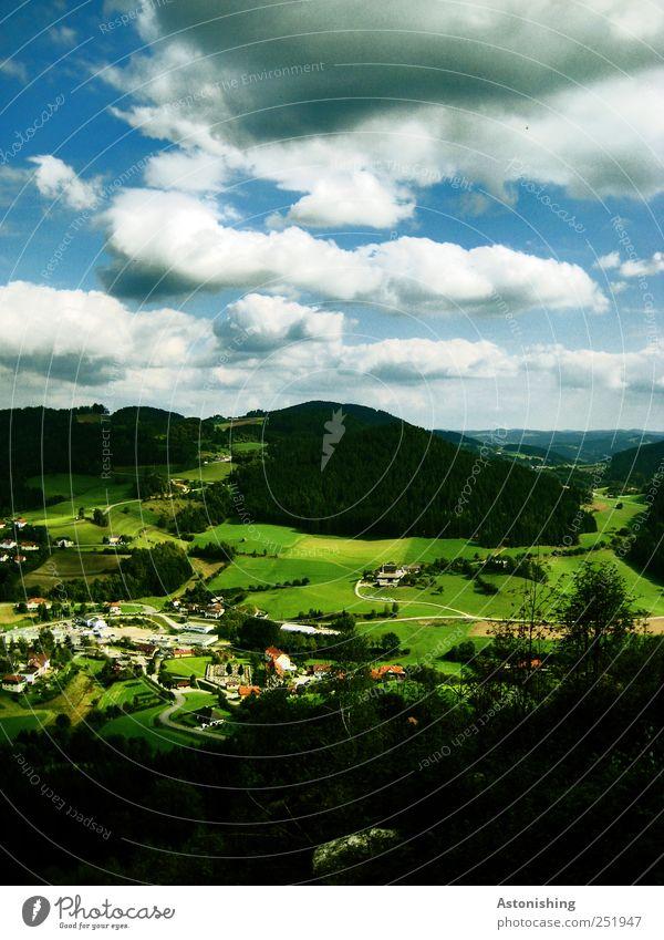 Hügellandschaft II Umwelt Natur Landschaft Pflanze Luft Himmel Wolken Horizont Sommer Klima Wetter Schönes Wetter Baum Gras Wiese Feld Dorf Haus Straße