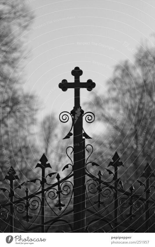 Gottesacker alt Einsamkeit schwarz dunkel kalt Tod Gefühle Religion & Glaube Traurigkeit Metall Stimmung Tür Trauer Zeichen Kreuz Glaube