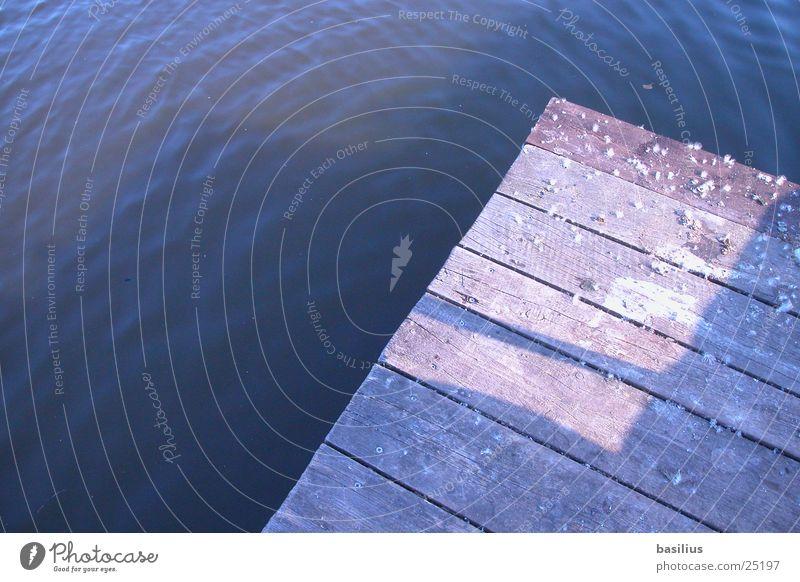 steg am see blau Sommer Wasser Sonne Holz See Ecke Steg Teich