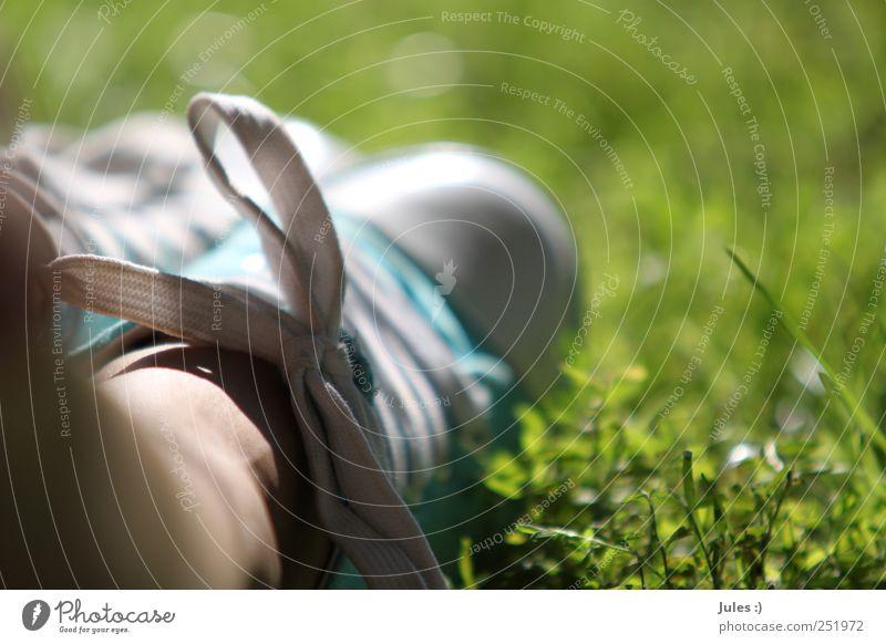 sommerfüßler Mensch Natur Pflanze Sonne Sommer ruhig Gras Garten Glück Beine Fuß Park Erde Kindheit Zufriedenheit Schuhe
