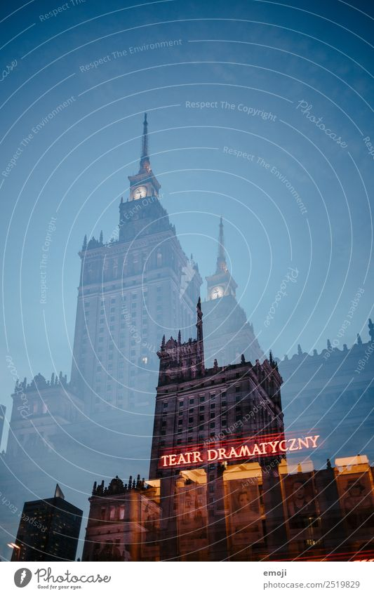 Warschau I Stadt außergewöhnlich Hochhaus Sehenswürdigkeit Hauptstadt Stadtzentrum Theater Doppelbelichtung Warszaw