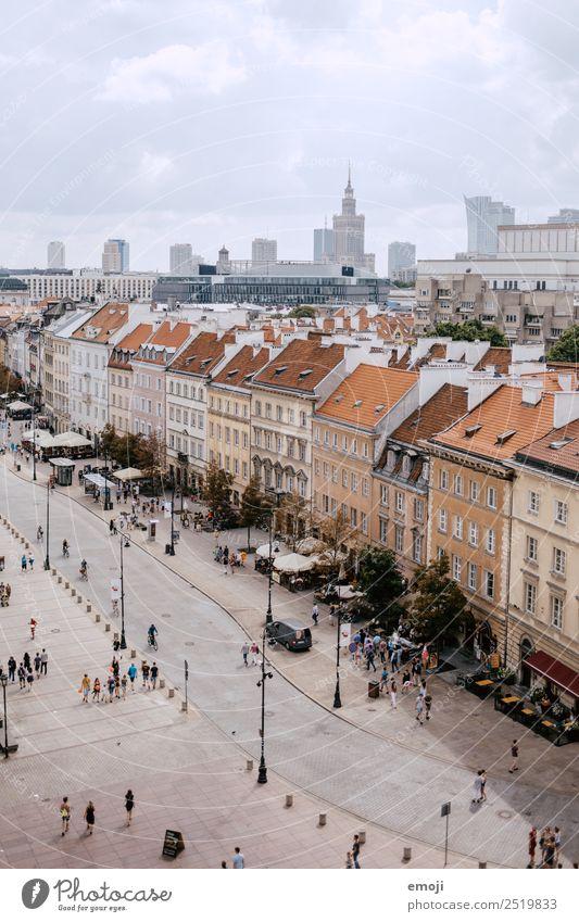 Warschau II | old and new town Stadt Hauptstadt Stadtzentrum Altstadt Skyline Haus Platz Marktplatz alt bevölkert Straße Warszaw Farbfoto Gedeckte Farben