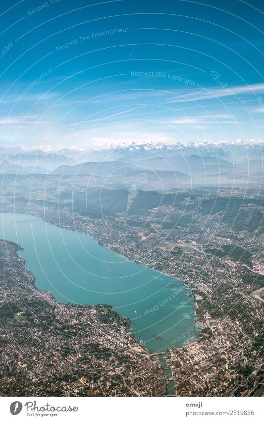 Zürichsee Umwelt Erde Himmel Alpen Berge u. Gebirge See Stadt Hauptstadt blau Luftaufnahme Zürich See Farbfoto mehrfarbig Außenaufnahme Tag Vogelperspektive