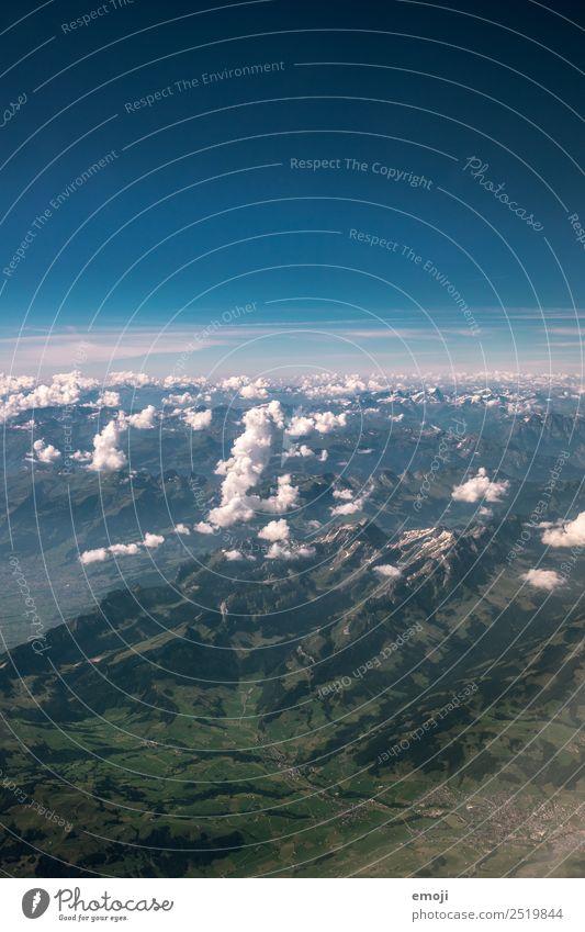 aus dem Flugzeugfenster Umwelt Natur Landschaft Himmel Klima Wetter Schönes Wetter Ferien & Urlaub & Reisen Flugzeugausblick Erde Farbfoto Außenaufnahme