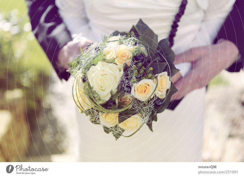 Big Day. Frau Mann Kunst Zusammensein ästhetisch Hochzeit Romantik festhalten Blumenstrauß Partnerschaft Braut Photo-Shooting Hochzeitspaar Brautkleid