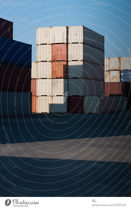 container Wirtschaft Industrie Güterverkehr & Logistik Mittelstand Unternehmen Wolkenloser Himmel Schönes Wetter Hafenstadt Menschenleer Container komplex