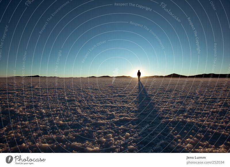 Pure Morning maskulin Mann Erwachsene 1 Mensch Landschaft Wolkenloser Himmel Horizont Sonnenaufgang Sonnenuntergang Sonnenlicht blau braun Salar de Uyuni