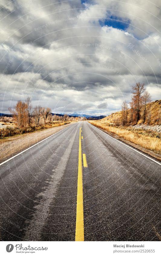 Panoramastraße im Grand Teton Nationalpark, USA. Ferien & Urlaub & Reisen Tourismus Ausflug Abenteuer Freiheit Sightseeing Expedition Camping Fahrradtour