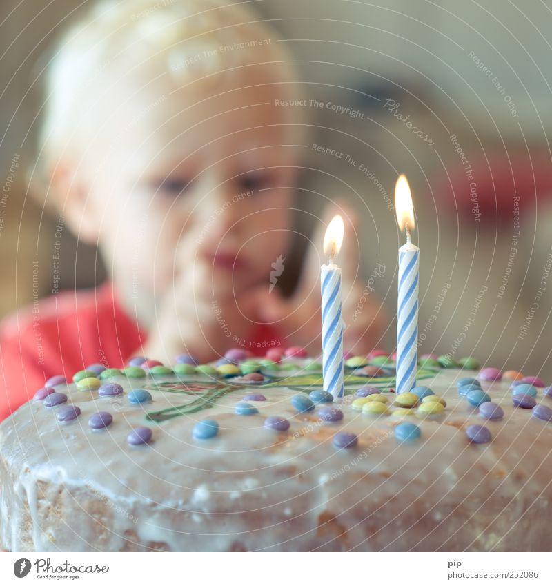 zwei Kuchen Geburtstagstorte Mensch maskulin Kind Kopf Finger 1 1-3 Jahre Kleinkind Essen Feste & Feiern blond Freude genießen Glück Wachstum Kerze Flamme 2