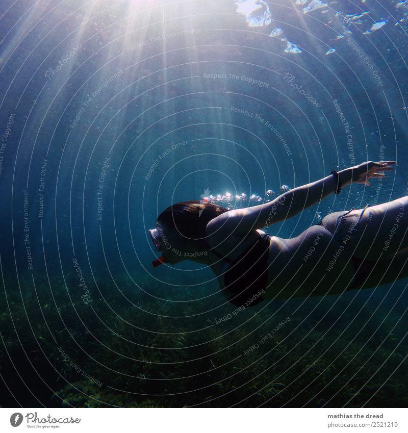 UNTER DEM MEER Natur Jugendliche Junge Frau schön Wasser Meer Freude dunkel Sport feminin Bewegung außergewöhnlich Schwimmen & Baden Zufriedenheit elegant