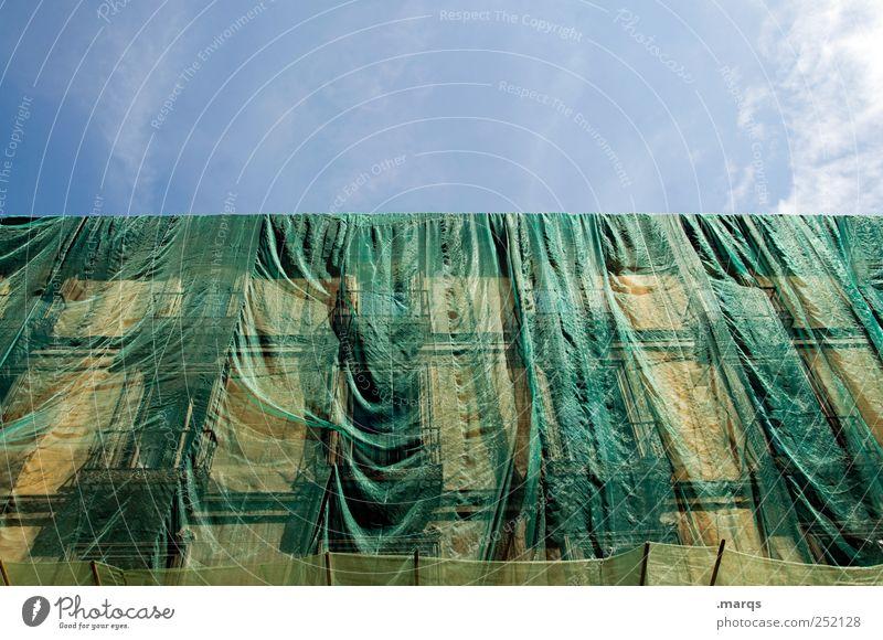 Verkleidung grün Architektur Arbeit & Erwerbstätigkeit Baustelle Wandel & Veränderung Bauwerk hängen bauen Handwerker Baugerüst Abdeckung verhüllen