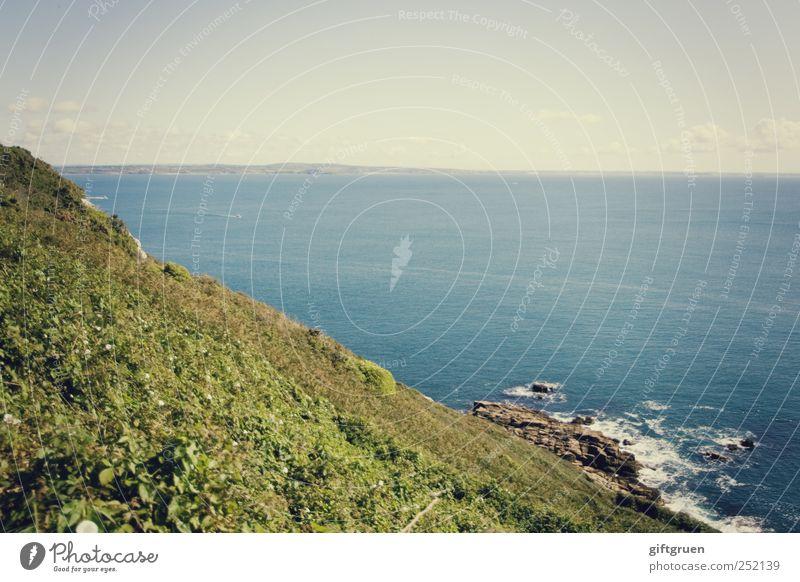 coastline Umwelt Natur Landschaft Pflanze Urelemente Erde Wasser Himmel Horizont Sommer Schönes Wetter Grünpflanze Wiese Hügel Felsen Wellen Küste Bucht Meer