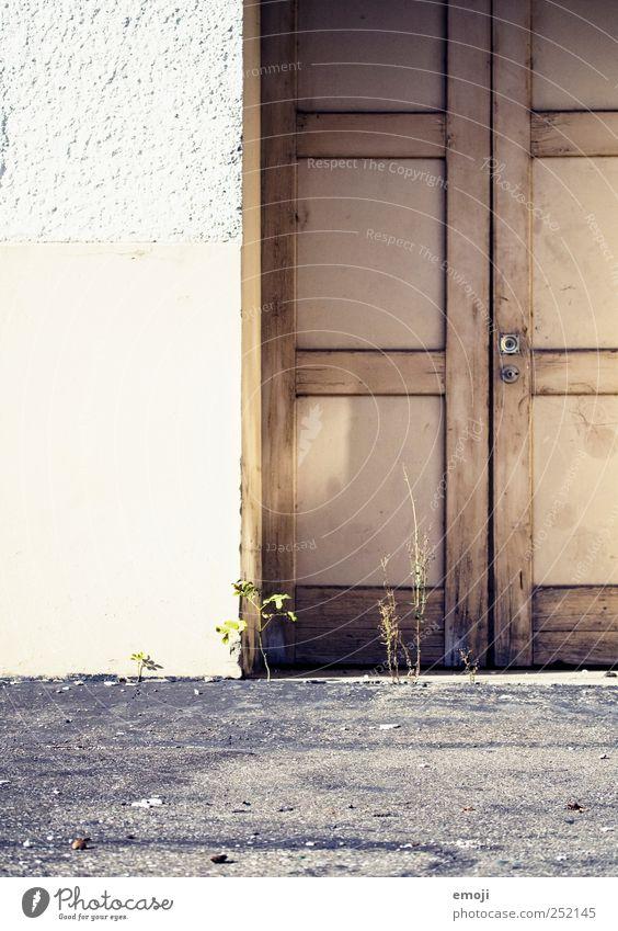 Türsteher Haus Industrieanlage Gebäude Mauer Wand Fassade alt Boden Farbfoto Außenaufnahme Textfreiraum links Tag Licht
