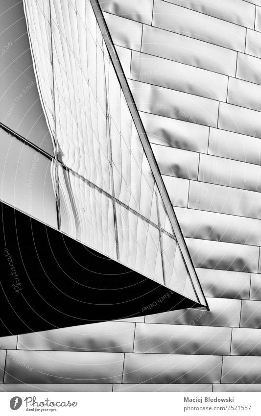Moderne Architektur urbaner Hintergrund. Design Tapete Büro Stadt Hochhaus Gebäude Fassade eckig elegant modern schwarz weiß einzigartig Perspektive Großstadt