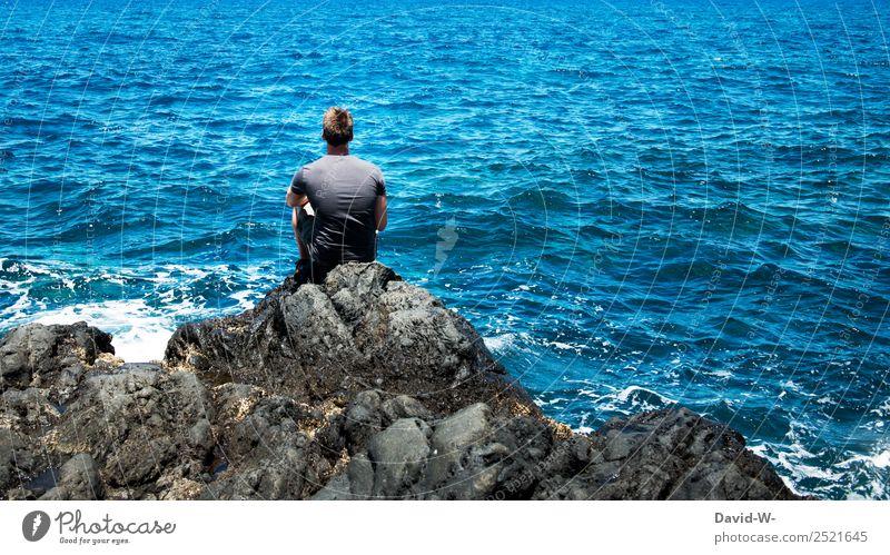 Meeresrauschen Mensch Natur Ferien & Urlaub & Reisen Jugendliche Mann Sommer Junger Mann Erholung ruhig Ferne Lifestyle Erwachsene Leben Küste Tourismus