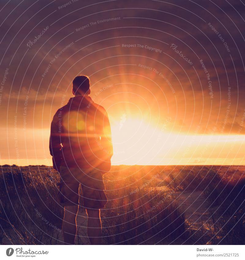 solche Momente vergisst man nicht Mensch Natur Ferien & Urlaub & Reisen Mann Sommer schön Landschaft Sonne Erholung ruhig Ferne Erwachsene Leben Freiheit