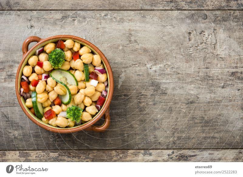 Kichererbsensalat in brauner Schüssel auf Holz Lebensmittel Gemüse Ernährung Mittagessen Vegetarische Ernährung Diät Gesundheit Gesunde Ernährung frisch weiß