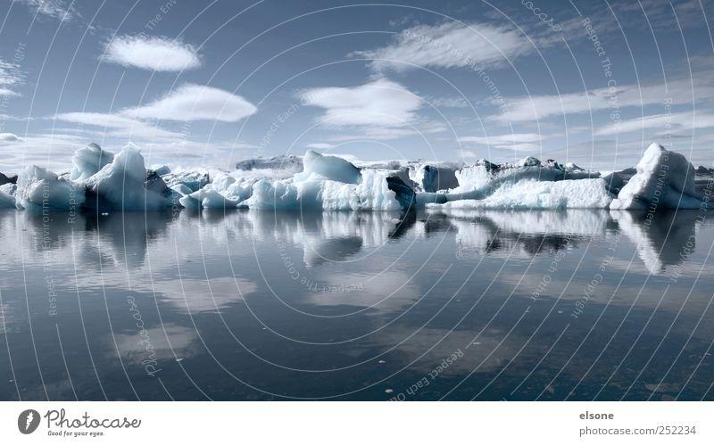 ICE Landschaft Wasser Wolken Winter Klima Klimawandel Wetter Eis Frost Berge u. Gebirge Gletscher Seeufer Bucht Fjord ruhig Abenteuer Idylle Eisberg Island