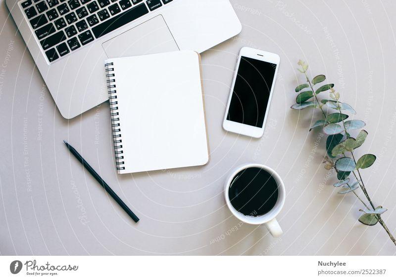 Pflanze grün Blatt Lifestyle Business Kunst Textfreiraum grau Arbeit & Erwerbstätigkeit Design Büro modern Aussicht Technik & Technologie Kreativität Computer