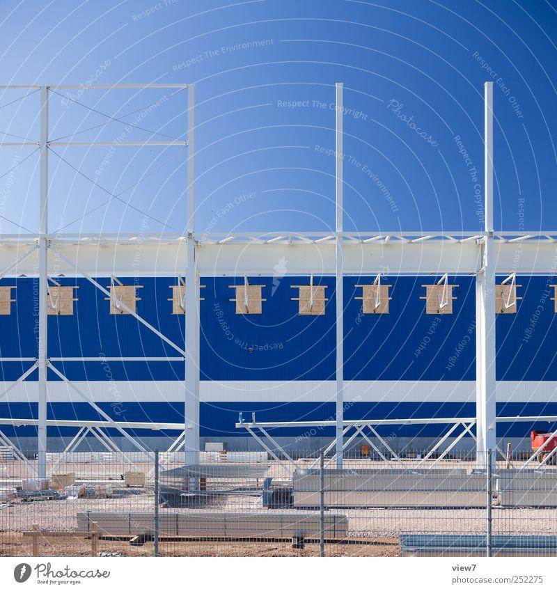 Erweiterung blau Haus Wand Architektur Mauer Gebäude Metall Linie Arbeit & Erwerbstätigkeit Fassade Ordnung Beginn frisch modern planen