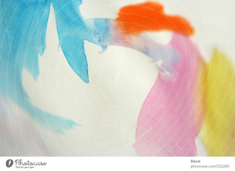 rumlavieren Freizeit & Hobby Kunst Gemälde Papier blau mehrfarbig gelb rosa Fröhlichkeit Leben Aquarell Wasserfarbe Farbe malen Aquarellfarbe Farbfoto
