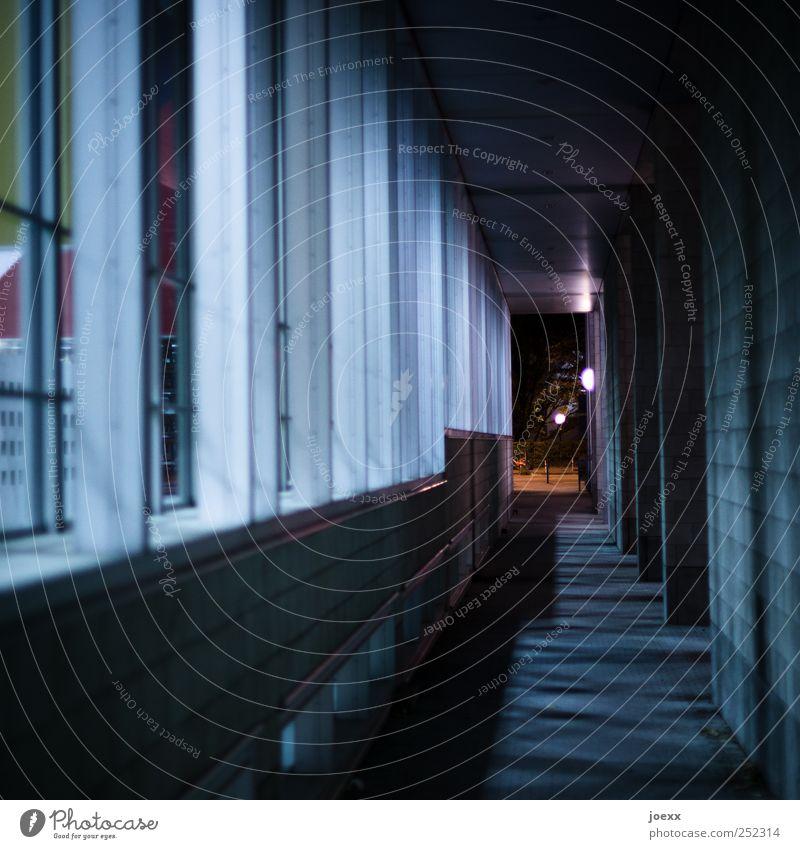 Drinnen und draußen Haus Mauer Wand Fassade Fenster hoch grau schwarz weiß Gang Farbfoto Gedeckte Farben Außenaufnahme Menschenleer Nacht Kunstlicht Schatten
