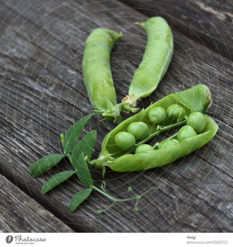 Erbsen zählen ... Lebensmittel Gemüse Erbsenschoten Umwelt Natur Pflanze Sommer Blatt Nutzpflanze Garten Holz liegen authentisch frisch Gesundheit einzigartig
