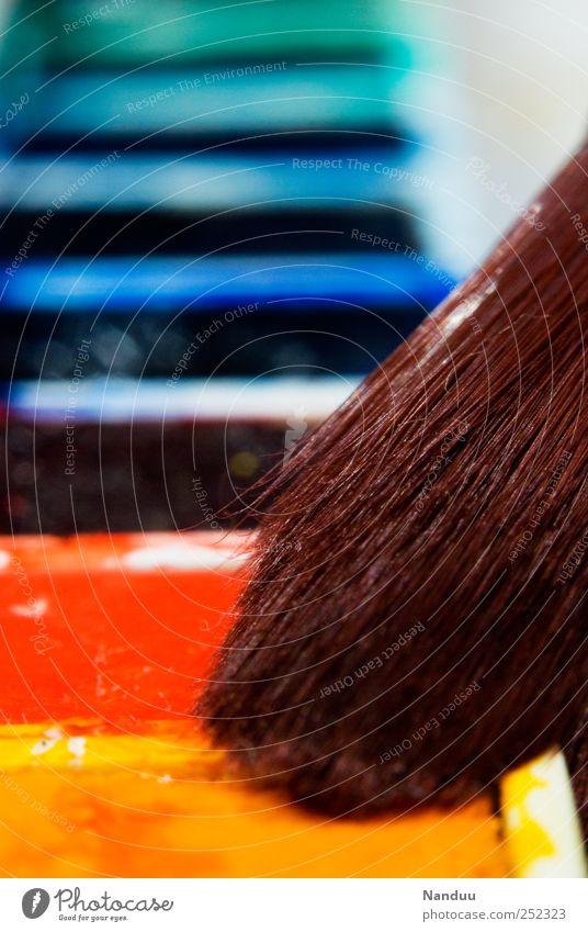 Weltbuntmachen Pinsel mehrfarbig malen Aquarell Wasserfarbe Paletten Kreativität Design Kunst expressiv regenbogenfarben gestalten Farbfoto Innenaufnahme