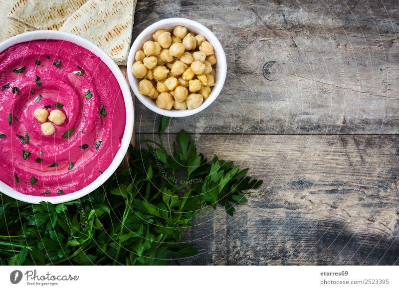Rübenhummus Lebensmittel Gesunde Ernährung Speise Foodfotografie Brot Vegetarische Ernährung Diät Schalen & Schüsseln Sahne Tisch Holz frisch Hummus Rote Beete