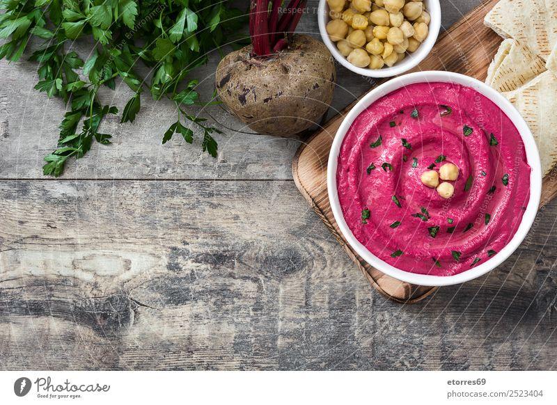 Rübenhummus Lebensmittel Gesunde Ernährung Speise Foodfotografie Brot Vegetarische Ernährung Diät Schalen & Schüsseln Tisch Holz frisch Hummus Rote Beete