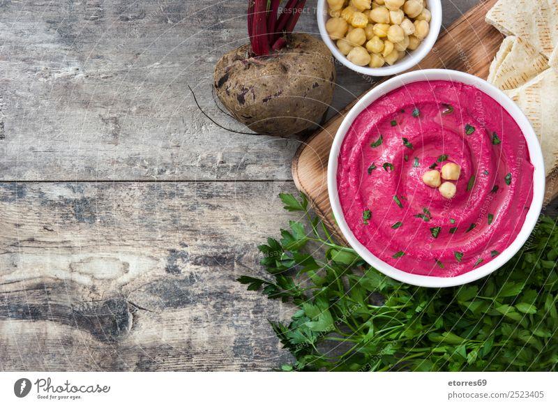 Rübenhummus Lebensmittel Brot Ernährung Vegetarische Ernährung Diät Schalen & Schüsseln Gesunde Ernährung Tisch Holz frisch Hummus Rote Beete Griechen Speise