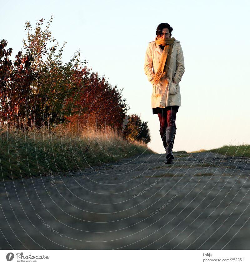 Herbstspaziergang Freizeit & Hobby Spaziergang Spazierweg Mensch Frau Erwachsene Leben 1 Natur Sonnenaufgang Sonnenuntergang Wetter Sträucher Fußweg Bekleidung