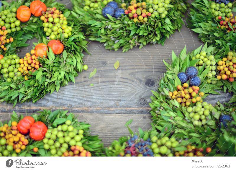 Rahmen Erntedankfest Herbst grün Kranz Gesteck Blumenhändler Wochenmarkt Floristik verkaufen Dekoration & Verzierung Beeren Kreis Immergrüne Pflanzen Farbfoto