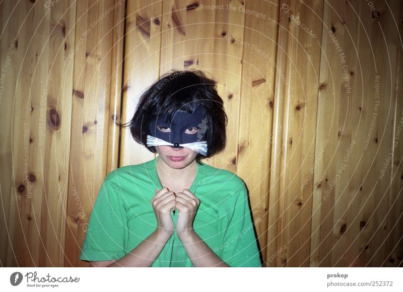 Katz im Blitz Katze Mensch Frau Jugendliche schön Freude Erwachsene Stil Fröhlichkeit verrückt einzigartig T-Shirt Maske Junge Frau Lebensfreude bizarr
