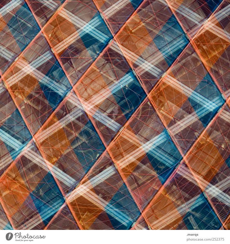 Karo Stil Design Baustelle Baugerüst Linie Streifen außergewöhnlich trendy blau rot Perspektive Symmetrie kariert Doppelbelichtung Farbfoto Außenaufnahme