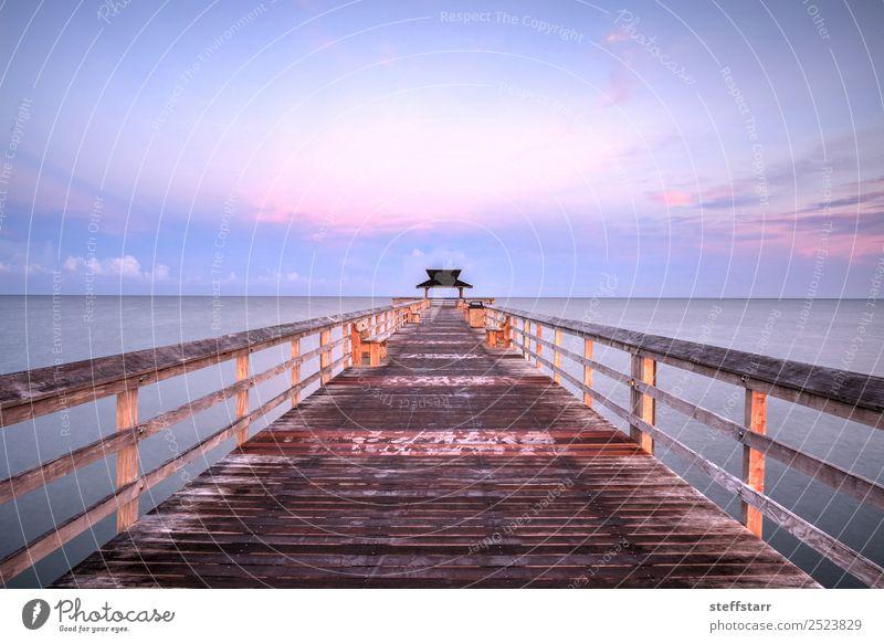 Früher Sonnenaufgang über dem Naples Pier Erholung Ferien & Urlaub & Reisen Ausflug Sommer Strand Meer Wellen Natur Landschaft Himmel Wolken Küste Holz Wasser