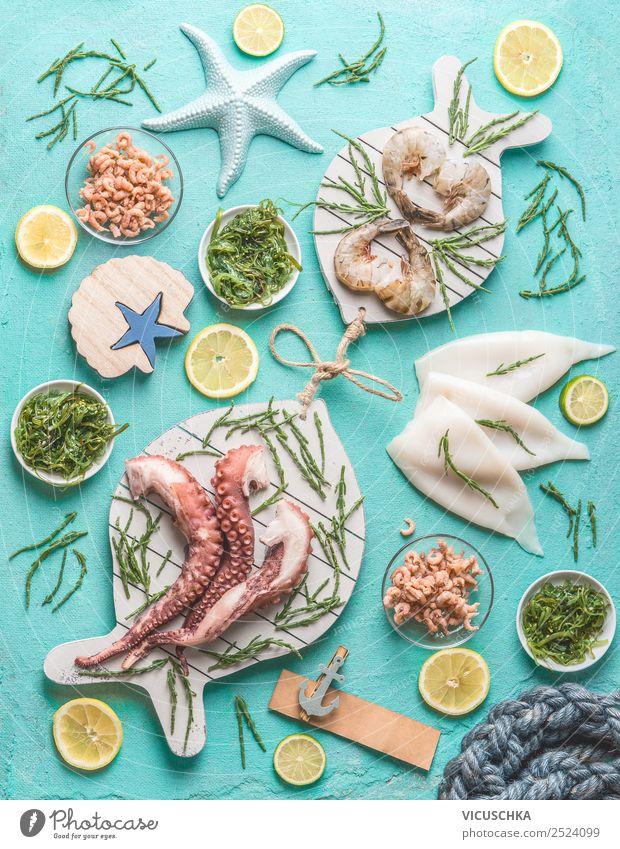 Meeresfrüchte Sortiment Gesunde Ernährung Foodfotografie Essen Lebensmittel Stil Design Tisch kaufen Restaurant Geschirr Essen zubereiten Mittagessen Salat