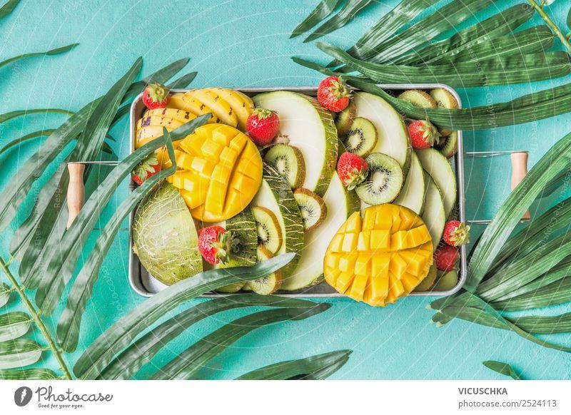 Täglicher Obst Portion Lebensmittel Frucht Ernährung Bioprodukte Vegetarische Ernährung Diät Stil Design Gesundheit Gesunde Ernährung Sommer gelb Vitamin