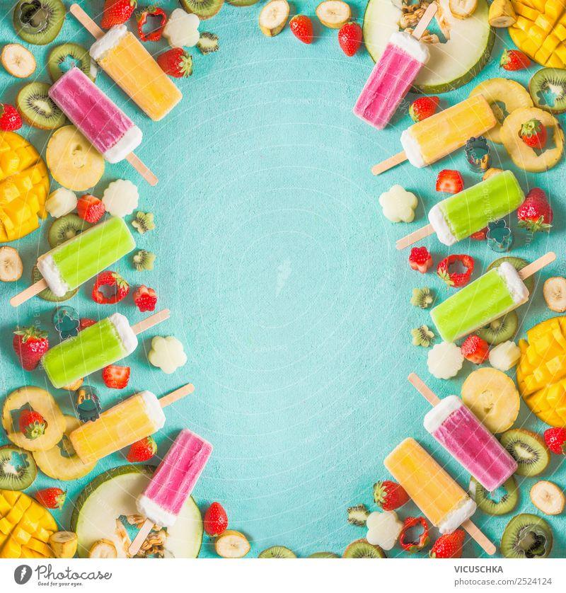 Bunte Eis am Stiel und frisches Obst Lebensmittel Frucht Speiseeis Ernährung Bioprodukte kaufen Stil Design Gesundheit Gesunde Ernährung Sommer gelb