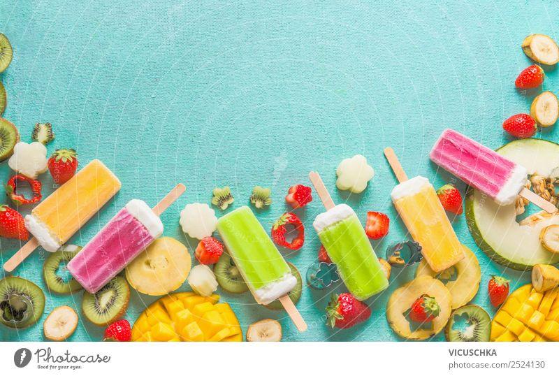 Bunte Obst Eiscreme with Früchten und Beeren Lebensmittel Frucht Speiseeis Ernährung Bioprodukte Vegetarische Ernährung Saft Stil Design Sommer gelb rosa